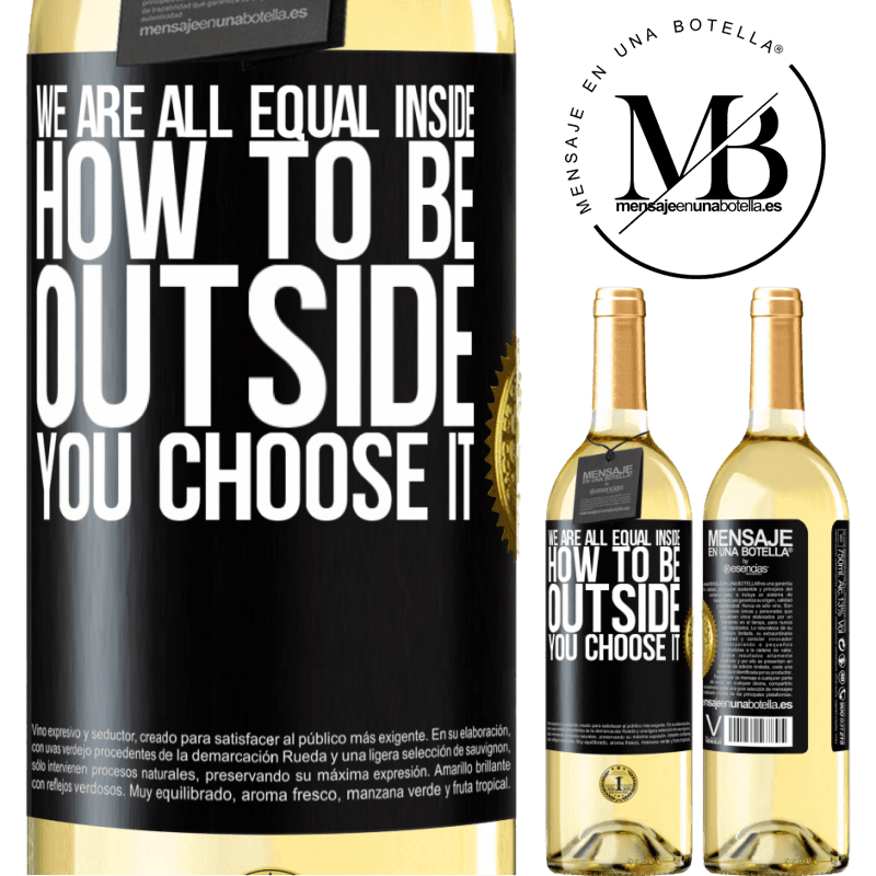 24,95 € Free Shipping   White Wine WHITE Edition We are all equal inside, how to be outside you choose it Black Label. Customizable label Young wine Harvest 2020 Verdejo
