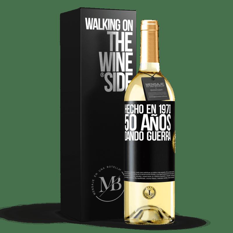 24,95 € Envío gratis   Vino Blanco Edición WHITE Hecho en 1970. 50 años dando guerra Etiqueta Negra. Etiqueta personalizable Vino joven Cosecha 2020 Verdejo