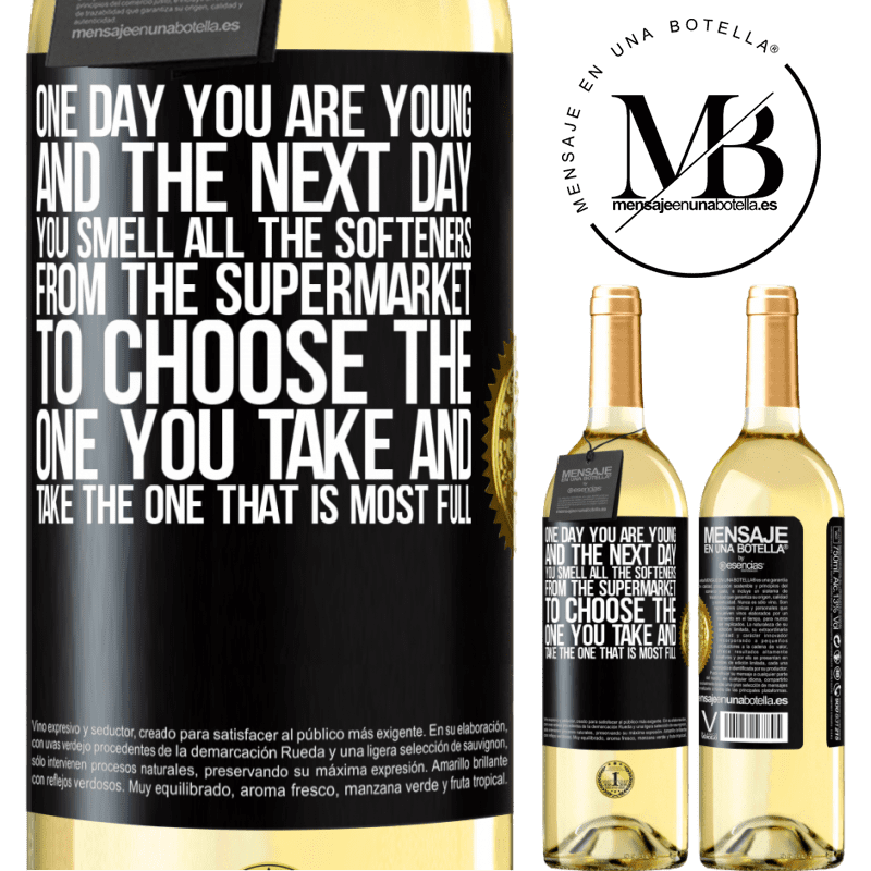 24,95 € Free Shipping | White Wine WHITE Edition One day you are young and the next day, you smell all the softeners from the supermarket to choose the one you take and take Black Label. Customizable label Young wine Harvest 2020 Verdejo