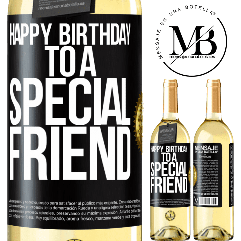 24,95 € Free Shipping   White Wine WHITE Edition Happy birthday to a special friend Black Label. Customizable label Young wine Harvest 2020 Verdejo