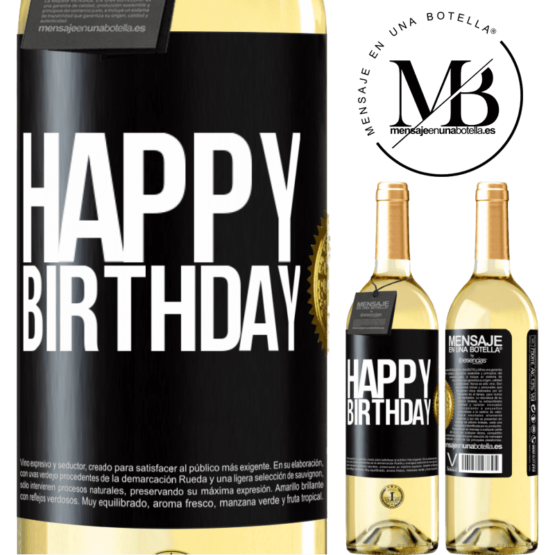 24,95 € Free Shipping | White Wine WHITE Edition Happy birthday Black Label. Customizable label Young wine Harvest 2020 Verdejo