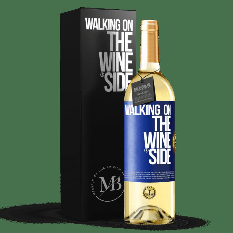 24,95 € Envío gratis | Vino Blanco Edición WHITE Walking on the Wine Side® Etiqueta Azul. Etiqueta personalizable Vino joven Cosecha 2020 Verdejo