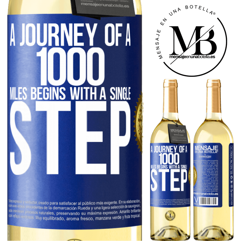24,95 € Free Shipping   White Wine WHITE Edition A journey of a thousand miles begins with a single step Blue Label. Customizable label Young wine Harvest 2020 Verdejo