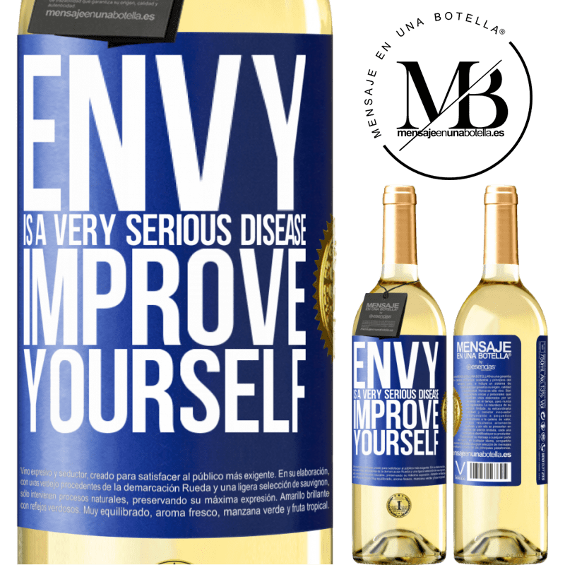 24,95 € Free Shipping | White Wine WHITE Edition Envy is a very serious disease, improve yourself Blue Label. Customizable label Young wine Harvest 2020 Verdejo