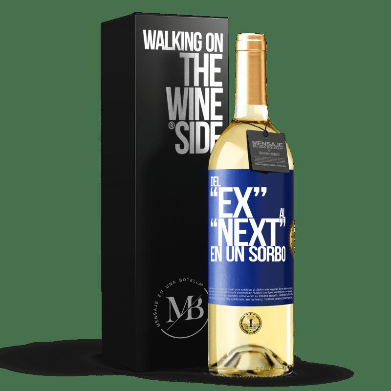 24,95 € Envío gratis | Vino Blanco Edición WHITE Del EX al NEXT en un sorbo Etiqueta Azul. Etiqueta personalizable Vino joven Cosecha 2020 Verdejo