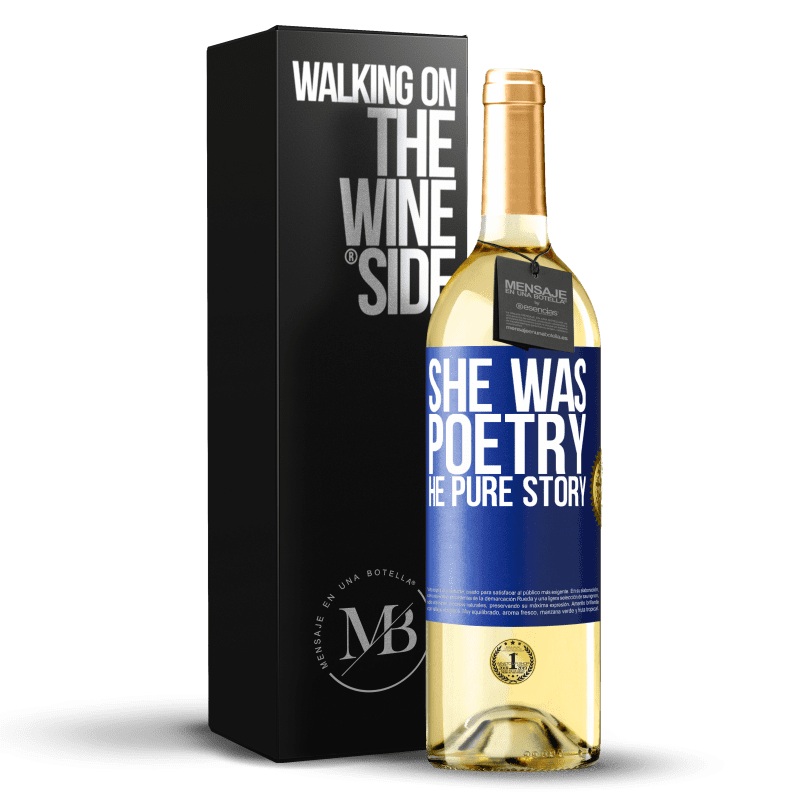 24,95 € Free Shipping   White Wine WHITE Edition She was poetry, he pure story Blue Label. Customizable label Young wine Harvest 2020 Verdejo