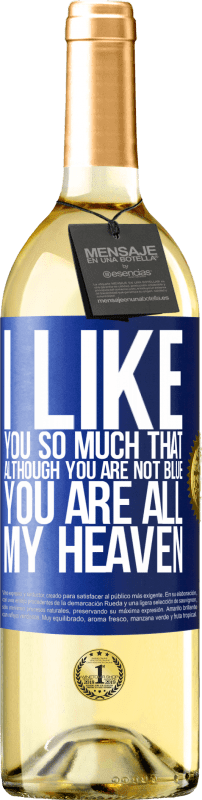24,95 € Free Shipping   White Wine WHITE Edition I like you so much that, although you are not blue, you are all my heaven Blue Label. Customizable label Young wine Harvest 2020 Verdejo