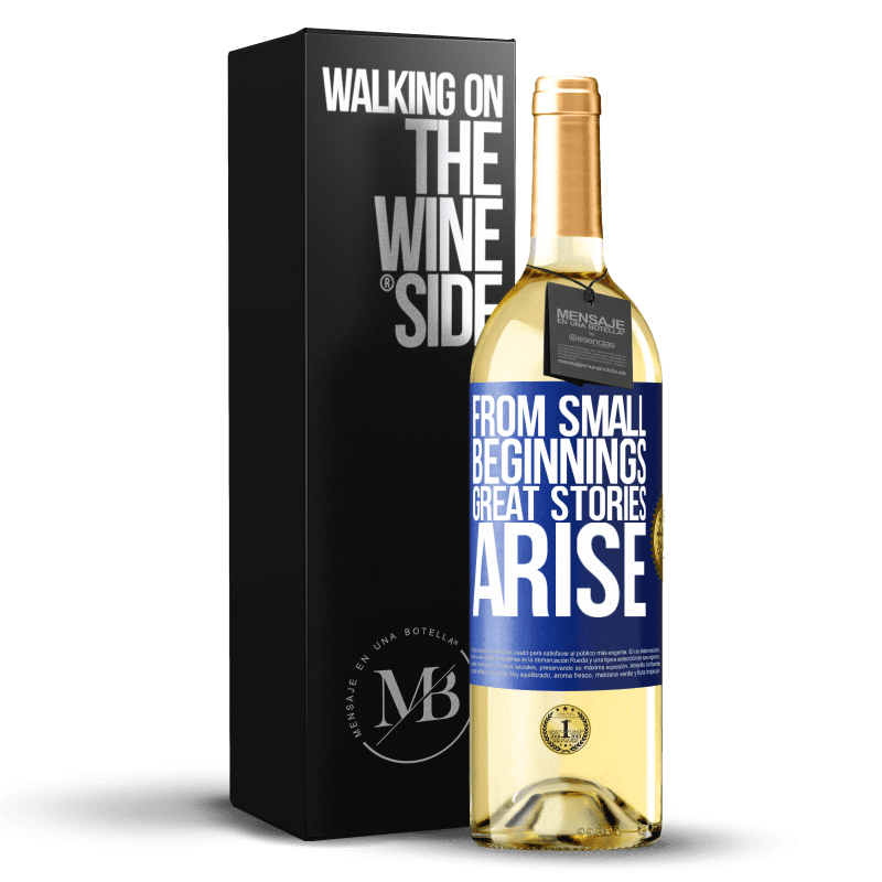 24,95 € Free Shipping | White Wine WHITE Edition From small beginnings great stories arise Blue Label. Customizable label Young wine Harvest 2020 Verdejo