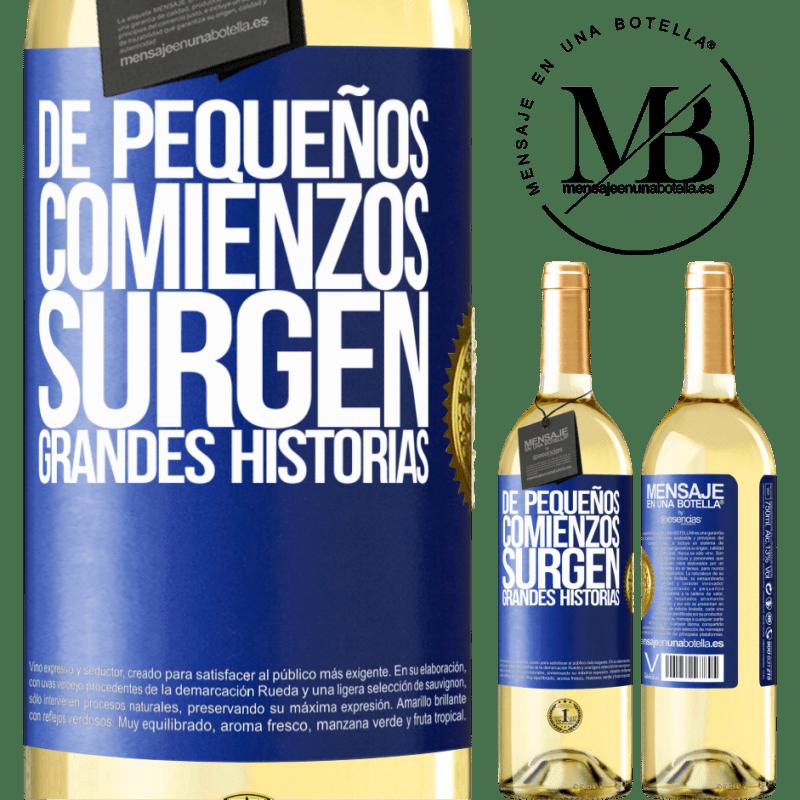 24,95 € Envío gratis | Vino Blanco Edición WHITE De pequeños comienzos surgen grandes historias Etiqueta Azul. Etiqueta personalizable Vino joven Cosecha 2020 Verdejo