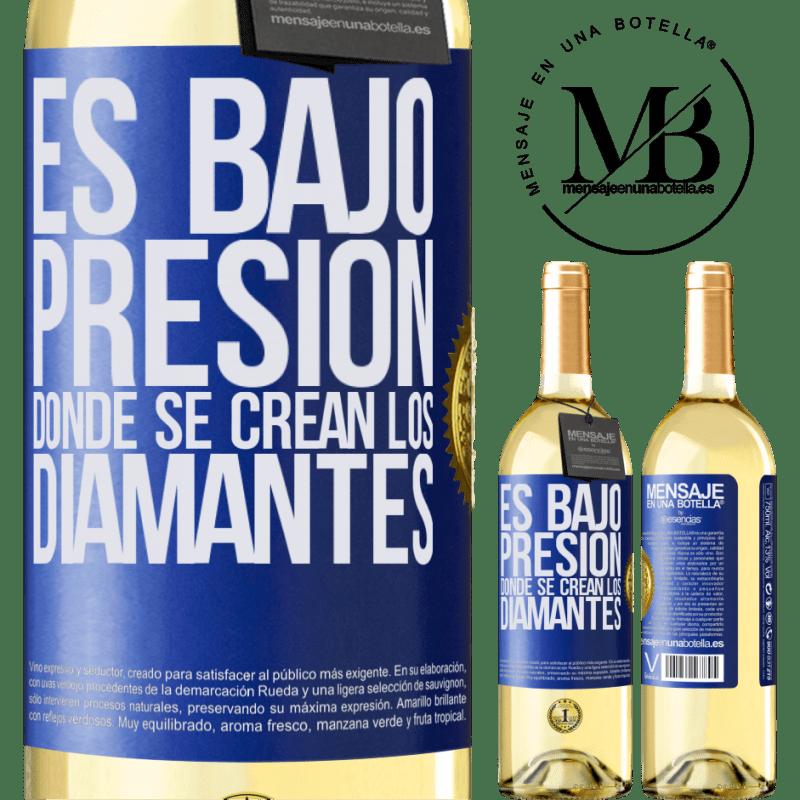 24,95 € Envío gratis   Vino Blanco Edición WHITE Es bajo presión donde se crean los diamantes Etiqueta Azul. Etiqueta personalizable Vino joven Cosecha 2020 Verdejo
