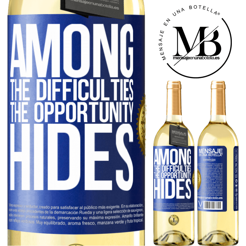 24,95 € Free Shipping | White Wine WHITE Edition Among the difficulties the opportunity hides Blue Label. Customizable label Young wine Harvest 2020 Verdejo