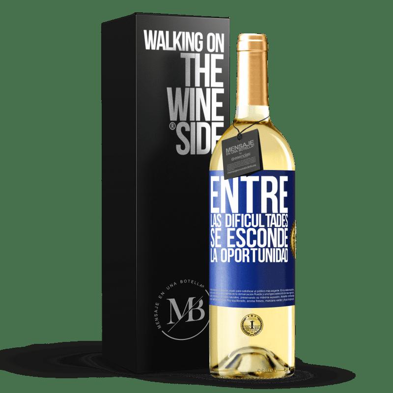 24,95 € Envoi gratuit   Vin blanc Édition WHITE Parmi les difficultés que l'opportunité cache Étiquette Bleue. Étiquette personnalisable Vin jeune Récolte 2020 Verdejo