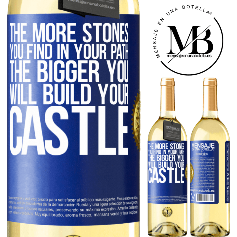 24,95 € Free Shipping | White Wine WHITE Edition The more stones you find in your path, the bigger you will build your castle Blue Label. Customizable label Young wine Harvest 2020 Verdejo