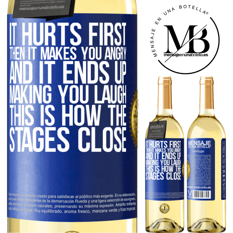 24,95 € Free Shipping   White Wine WHITE Edition It hurts first, then it makes you angry, and it ends up making you laugh. This is how the stages close Blue Label. Customizable label Young wine Harvest 2020 Verdejo