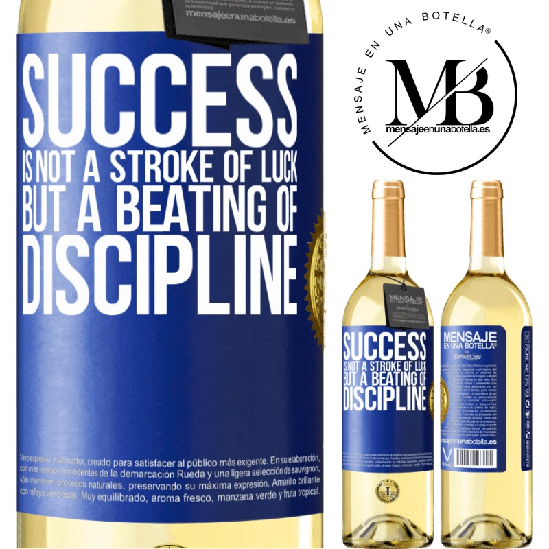 24,95 € Free Shipping | White Wine WHITE Edition Success is not a stroke of luck, but a beating of discipline Blue Label. Customizable label Young wine Harvest 2020 Verdejo