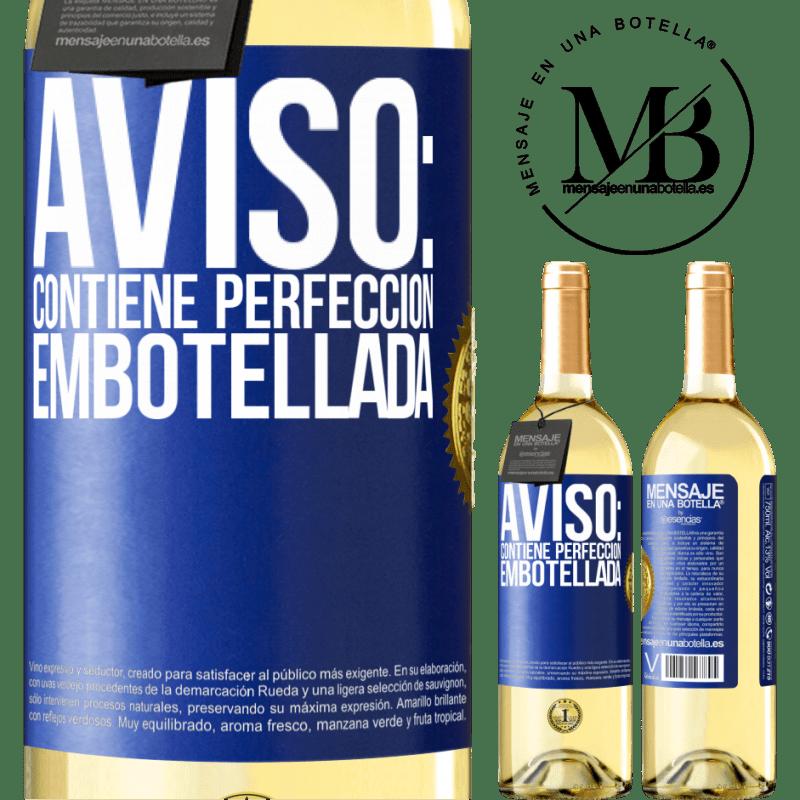 24,95 € Envío gratis | Vino Blanco Edición WHITE Aviso: contiene perfección embotellada Etiqueta Azul. Etiqueta personalizable Vino joven Cosecha 2020 Verdejo