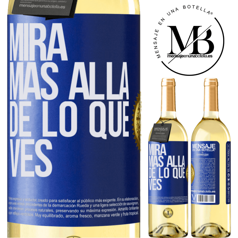 24,95 € Envío gratis | Vino Blanco Edición WHITE Mira más allá de lo que ves Etiqueta Azul. Etiqueta personalizable Vino joven Cosecha 2020 Verdejo