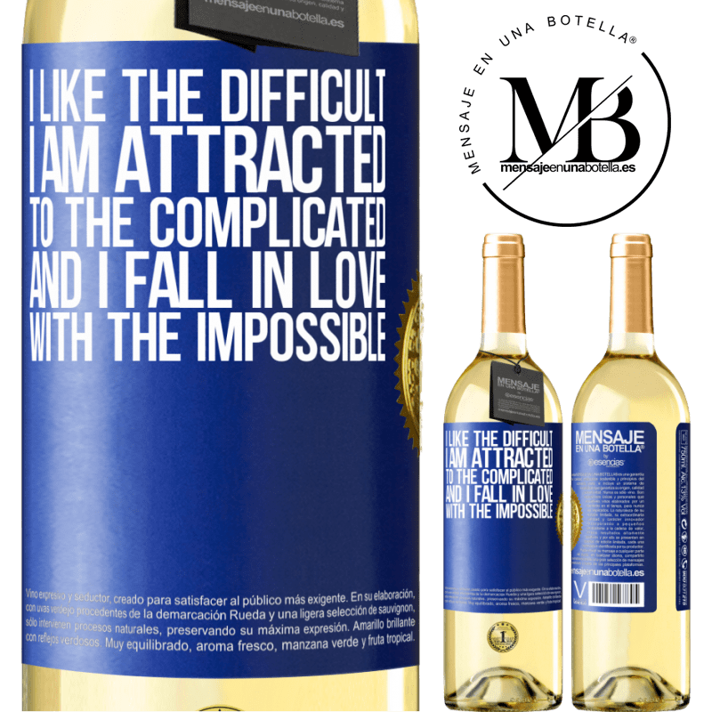 24,95 € Free Shipping   White Wine WHITE Edition I like the difficult, I am attracted to the complicated, and I fall in love with the impossible Blue Label. Customizable label Young wine Harvest 2020 Verdejo