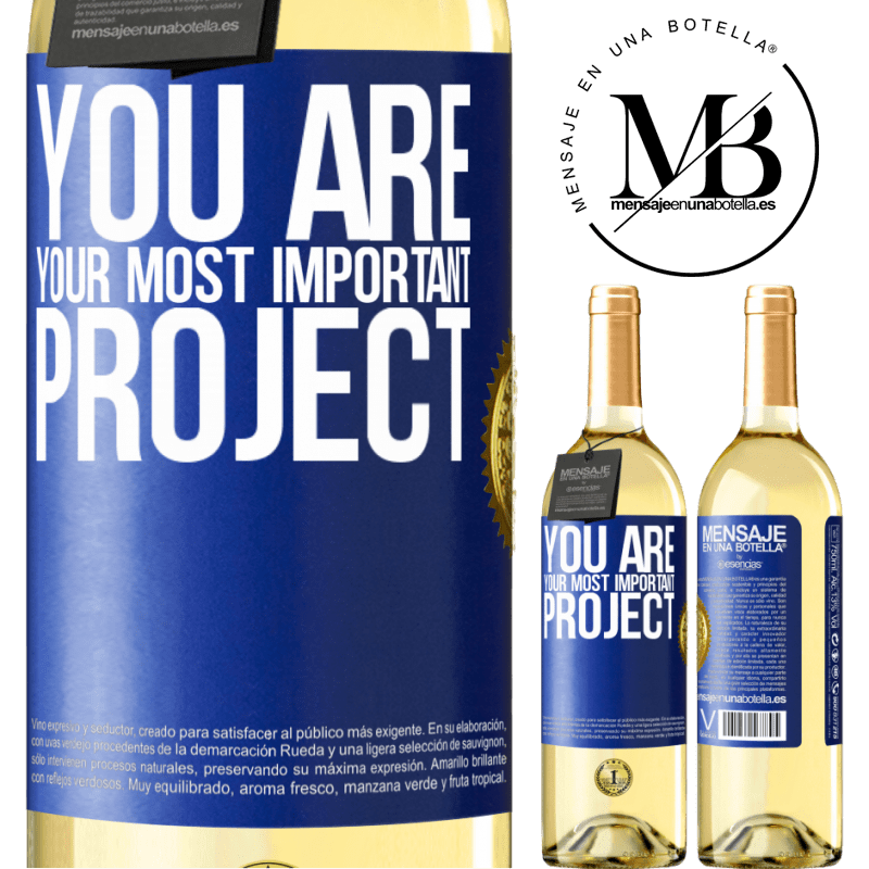 24,95 € Free Shipping | White Wine WHITE Edition You are your most important project Blue Label. Customizable label Young wine Harvest 2020 Verdejo