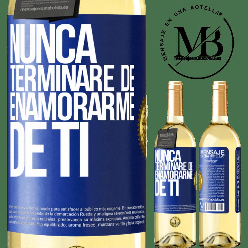 24,95 € Envoi gratuit | Vin blanc Édition WHITE Je ne cesserai jamais de tomber amoureux de toi Étiquette Bleue. Étiquette personnalisable Vin jeune Récolte 2020 Verdejo
