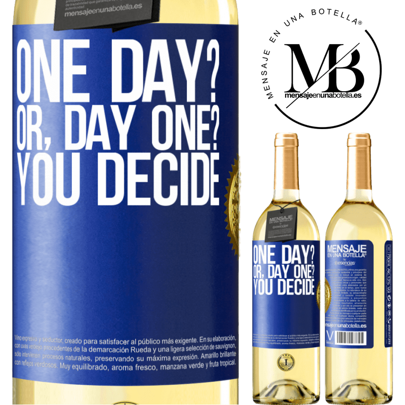 24,95 € Free Shipping | White Wine WHITE Edition One day? Or, day one? You decide Blue Label. Customizable label Young wine Harvest 2020 Verdejo