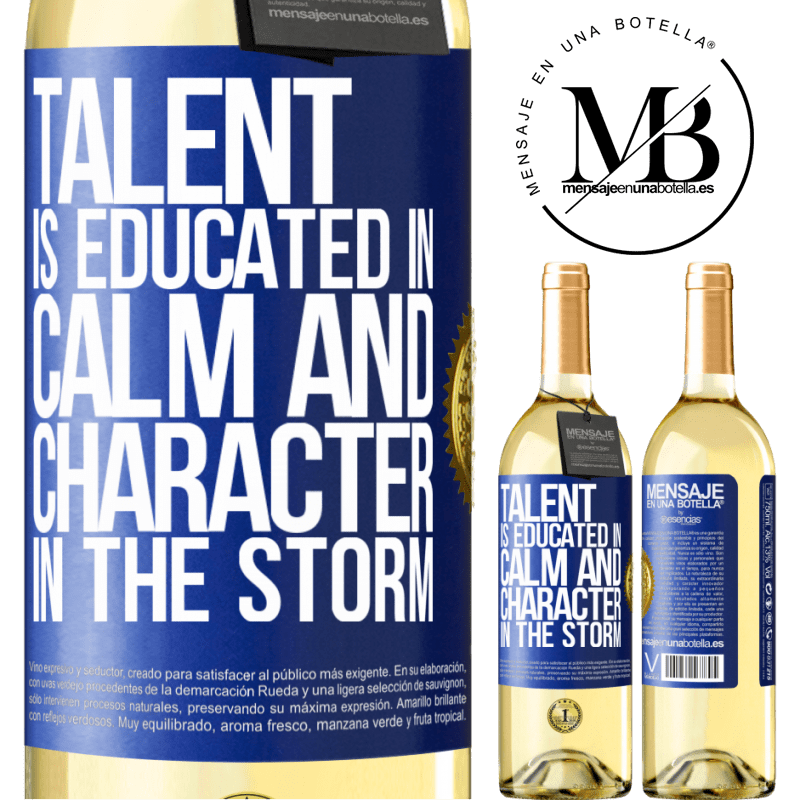 24,95 € Free Shipping   White Wine WHITE Edition Talent is educated in calm and character in the storm Blue Label. Customizable label Young wine Harvest 2020 Verdejo