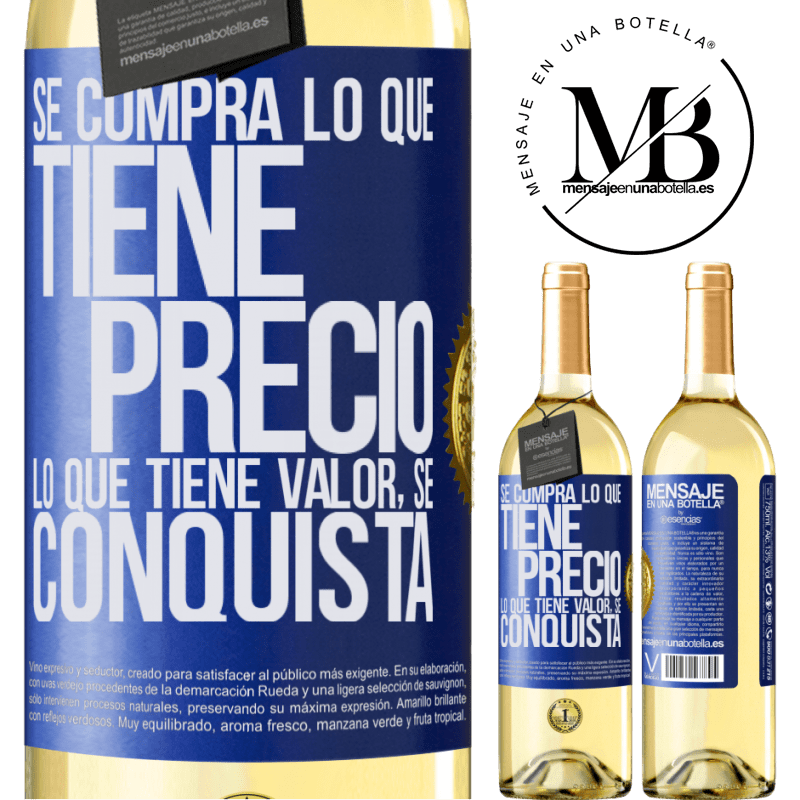 24,95 € Envoi gratuit | Vin blanc Édition WHITE Vous achetez ce qui a un prix. Ce qui a de la valeur est conquis Étiquette Bleue. Étiquette personnalisable Vin jeune Récolte 2020 Verdejo