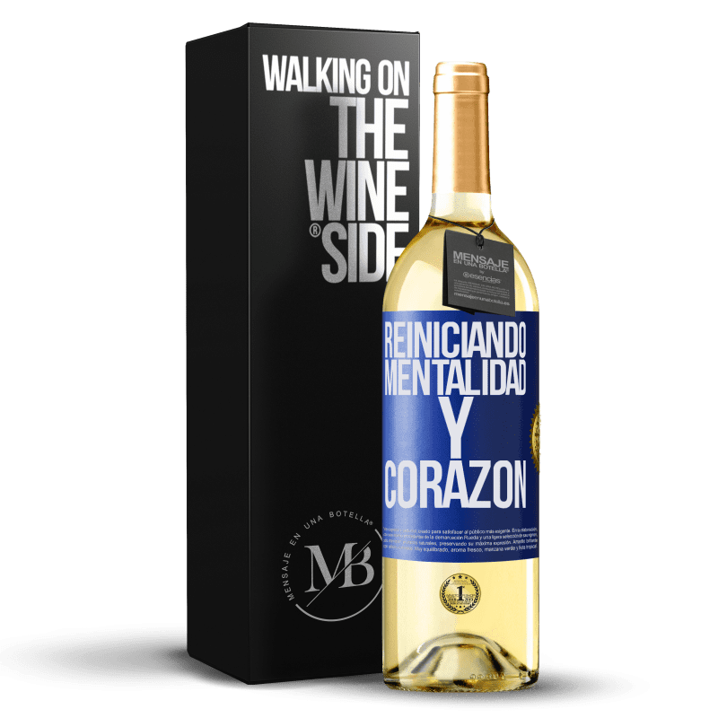 24,95 € Envoi gratuit   Vin blanc Édition WHITE Réinitialisation de la mentalité et du cœur Étiquette Bleue. Étiquette personnalisable Vin jeune Récolte 2020 Verdejo