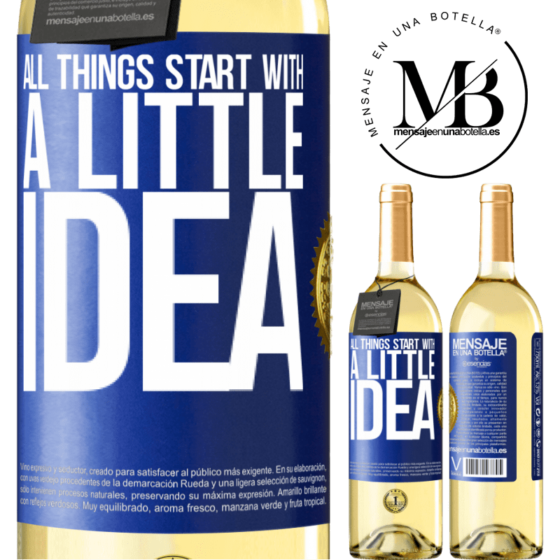 24,95 € Free Shipping   White Wine WHITE Edition It all starts with a little idea Blue Label. Customizable label Young wine Harvest 2020 Verdejo