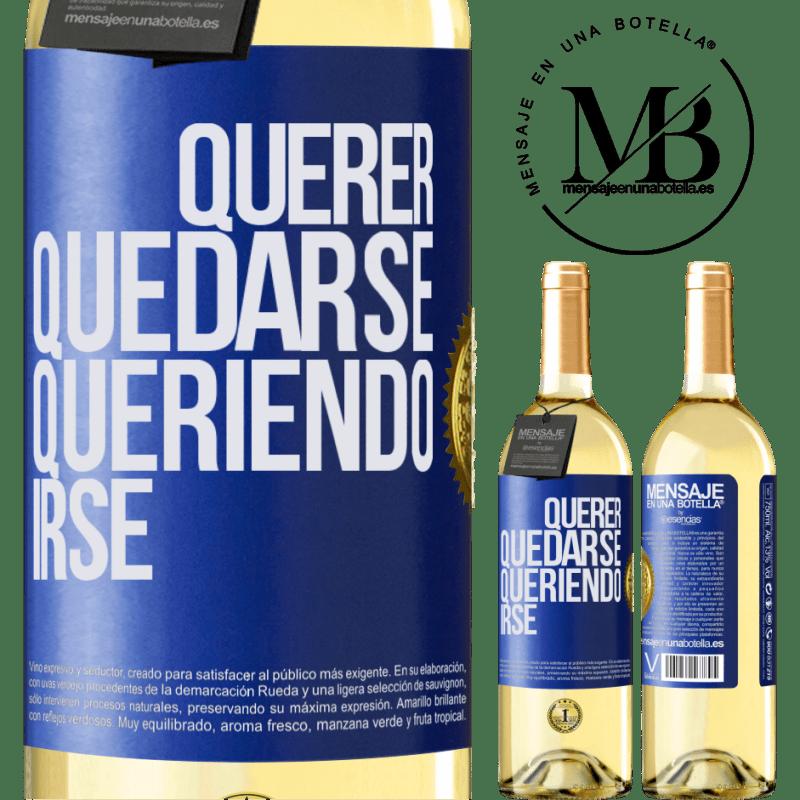 24,95 € Envoi gratuit   Vin blanc Édition WHITE Vouloir rester vouloir partir Étiquette Bleue. Étiquette personnalisable Vin jeune Récolte 2020 Verdejo