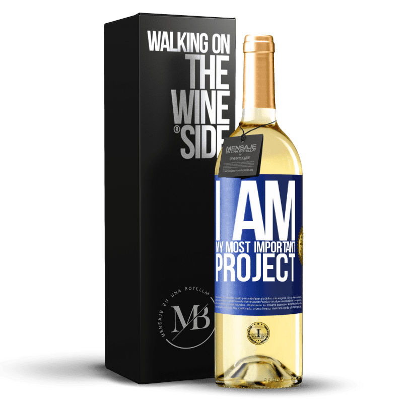 24,95 € Free Shipping | White Wine WHITE Edition I am my most important project Blue Label. Customizable label Young wine Harvest 2020 Verdejo