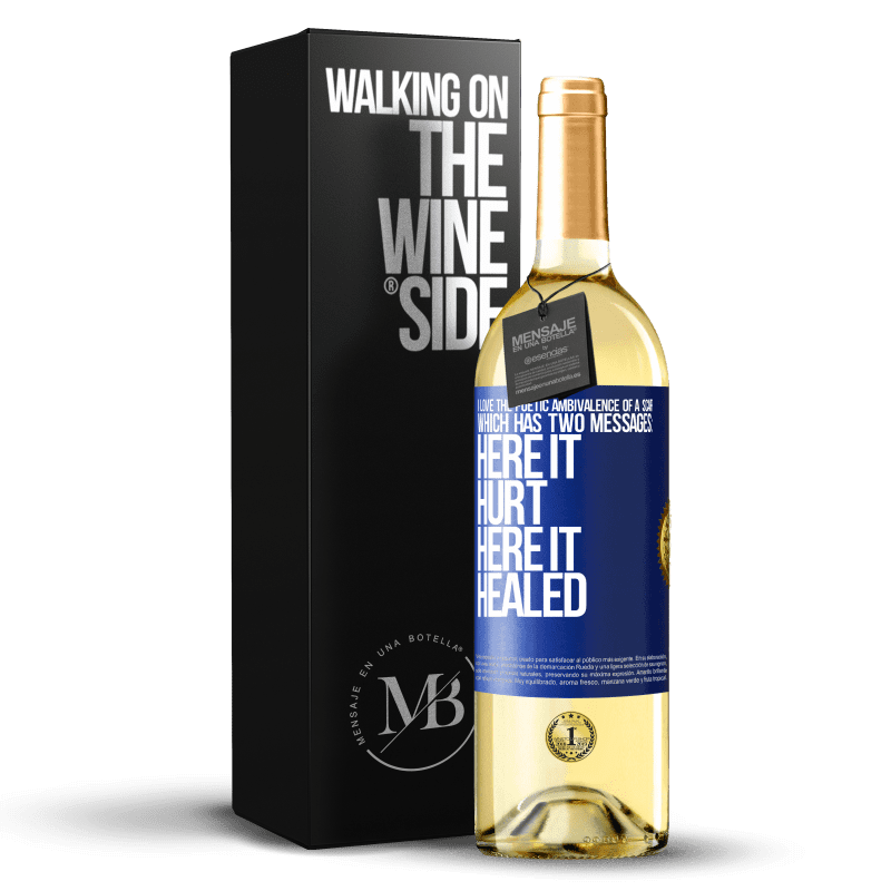 24,95 € Free Shipping | White Wine WHITE Edition I love the poetic ambivalence of a scar, which has two messages: here it hurt, here it healed Blue Label. Customizable label Young wine Harvest 2020 Verdejo
