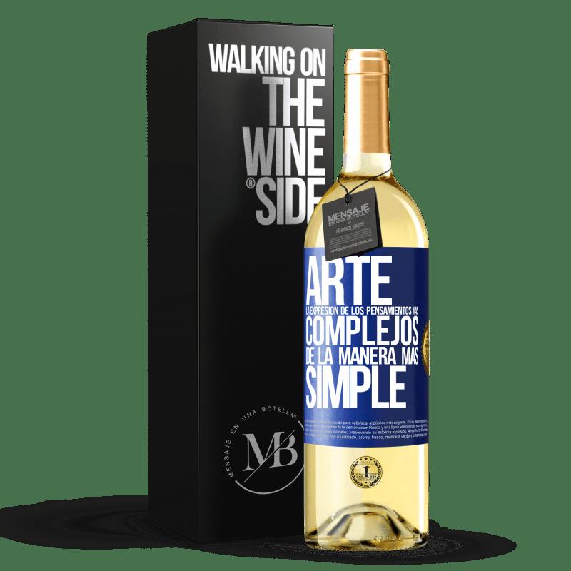 24,95 € Envoi gratuit | Vin blanc Édition WHITE ART L'expression des pensées les plus complexes de la manière la plus simple Étiquette Bleue. Étiquette personnalisable Vin jeune Récolte 2020 Verdejo