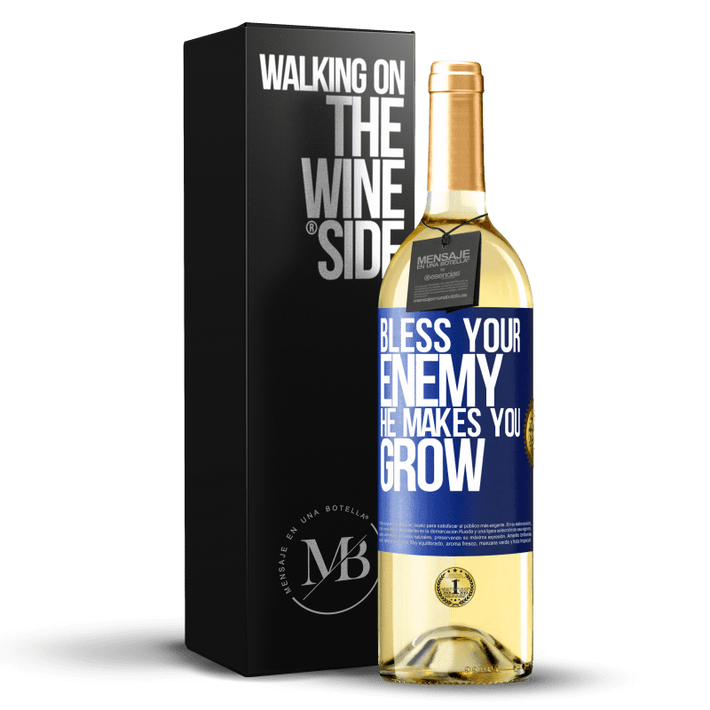 24,95 € Free Shipping | White Wine WHITE Edition Bless your enemy. He makes you grow Blue Label. Customizable label Young wine Harvest 2020 Verdejo