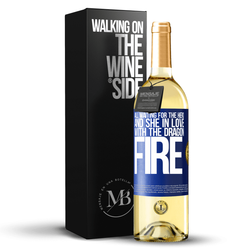 24,95 € Free Shipping | White Wine WHITE Edition All waiting for the hero and she in love with the dragon fire Blue Label. Customizable label Young wine Harvest 2020 Verdejo