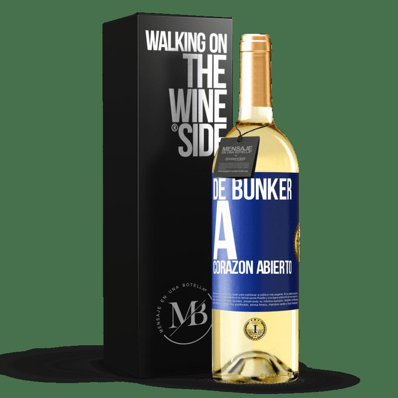 24,95 € Envío gratis | Vino Blanco Edición WHITE De búnker a corazon abierto Etiqueta Azul. Etiqueta personalizable Vino joven Cosecha 2020 Verdejo