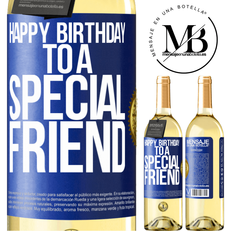 24,95 € Free Shipping   White Wine WHITE Edition Happy birthday to a special friend Blue Label. Customizable label Young wine Harvest 2020 Verdejo