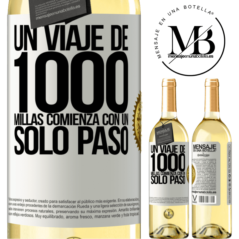 24,95 € Envío gratis | Vino Blanco Edición WHITE Un viaje de mil millas comienza con un solo paso Etiqueta Blanca. Etiqueta personalizable Vino joven Cosecha 2020 Verdejo