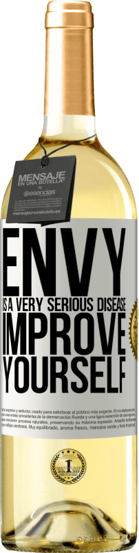 24,95 € Free Shipping | White Wine WHITE Edition Envy is a very serious disease, improve yourself White Label. Customizable label Young wine Harvest 2020 Verdejo