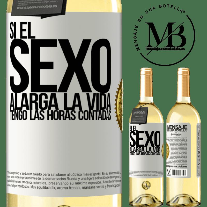 24,95 € Envío gratis | Vino Blanco Edición WHITE Si el sexo alarga la vida ¡Tengo las horas contadas! Etiqueta Blanca. Etiqueta personalizable Vino joven Cosecha 2020 Verdejo