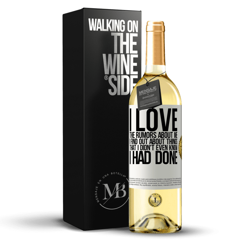 24,95 € Free Shipping | White Wine WHITE Edition I love the rumors about me, I find out about things that I didn't even know I had done White Label. Customizable label Young wine Harvest 2020 Verdejo