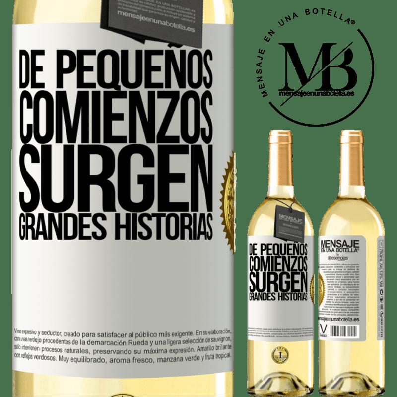 24,95 € Envío gratis | Vino Blanco Edición WHITE De pequeños comienzos surgen grandes historias Etiqueta Blanca. Etiqueta personalizable Vino joven Cosecha 2020 Verdejo