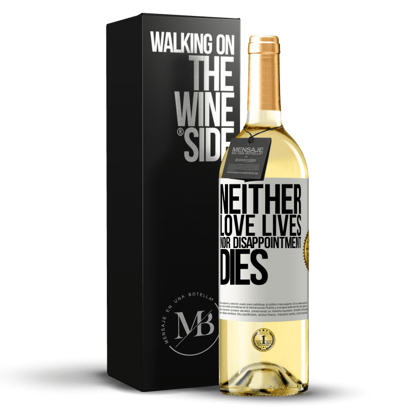 24,95 € Free Shipping | White Wine WHITE Edition Neither love lives, nor disappointment dies White Label. Customizable label Young wine Harvest 2020 Verdejo