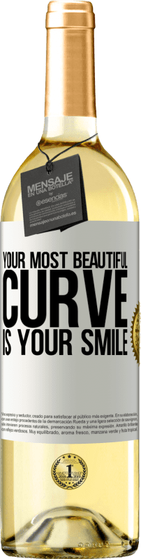 24,95 € Free Shipping | White Wine WHITE Edition Your most beautiful curve is your smile White Label. Customizable label Young wine Harvest 2020 Verdejo