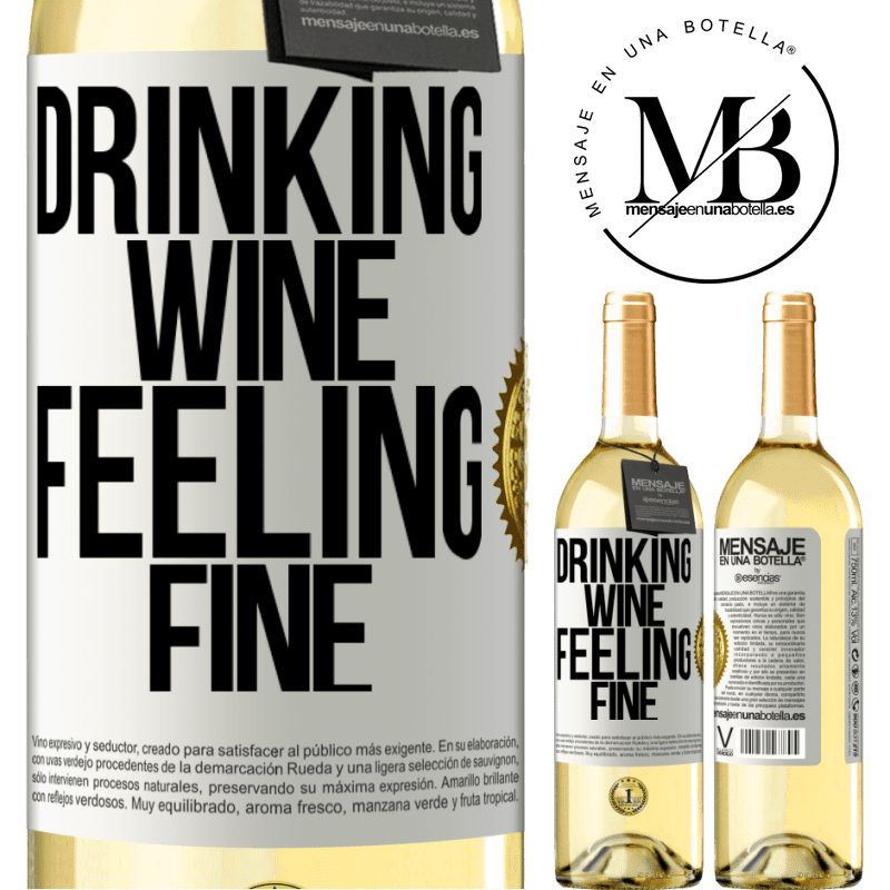 24,95 € Free Shipping | White Wine WHITE Edition Drinking wine, feeling fine White Label. Customizable label Young wine Harvest 2020 Verdejo