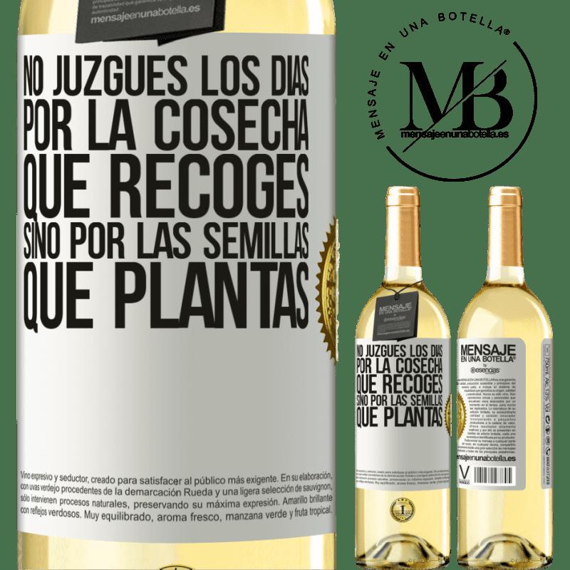 24,95 € Envoi gratuit | Vin blanc Édition WHITE Ne jugez pas les jours par la récolte que vous récoltez, mais par les graines que vous plantez Étiquette Blanche. Étiquette personnalisable Vin jeune Récolte 2020 Verdejo