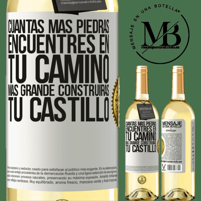 24,95 € Envoi gratuit   Vin blanc Édition WHITE Plus vous trouverez de pierres sur votre chemin, plus vous construirez votre château Étiquette Blanche. Étiquette personnalisable Vin jeune Récolte 2020 Verdejo