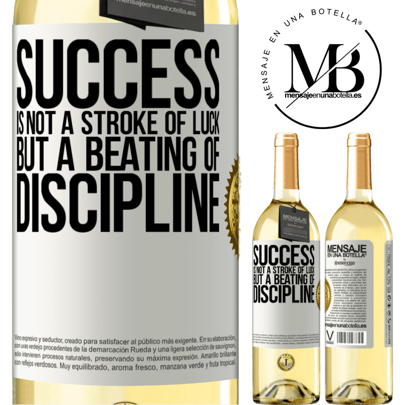 24,95 € Free Shipping | White Wine WHITE Edition Success is not a stroke of luck, but a beating of discipline White Label. Customizable label Young wine Harvest 2020 Verdejo