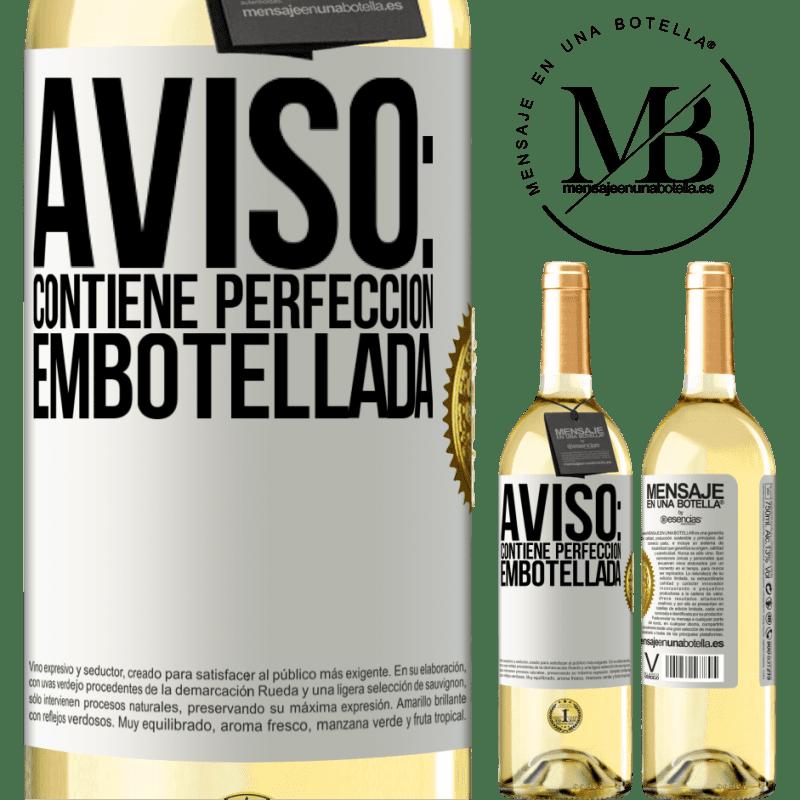 24,95 € Envío gratis | Vino Blanco Edición WHITE Aviso: contiene perfección embotellada Etiqueta Blanca. Etiqueta personalizable Vino joven Cosecha 2020 Verdejo