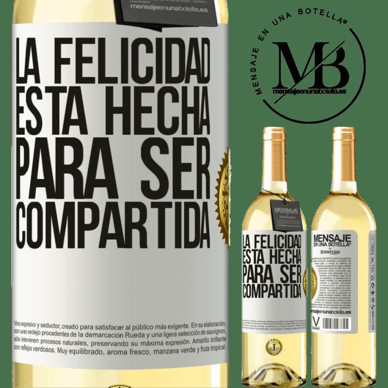 24,95 € Envoi gratuit | Vin blanc Édition WHITE Le bonheur est fait pour être partagé Étiquette Blanche. Étiquette personnalisable Vin jeune Récolte 2020 Verdejo
